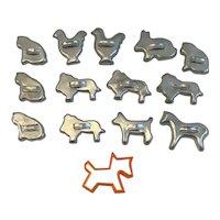 14 Miniature Aluminum Cookie Cutters Cats Scottie Dog Lions Chickens Rabbit Horse one Orange Plastic Vintage Kitchen Candy Molds