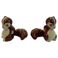 Bushy Tail Squirrel Salt and Pepper Shakers Vintage Red Japan Mark
