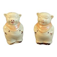 Shawnee Pottery Pig Salt and Pepper Shakers Pink Bibs