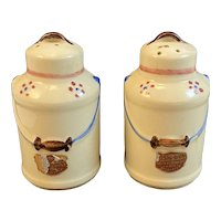 Shawnee Pottery Milk Can Salt and Pepper Shakers with Original Labels