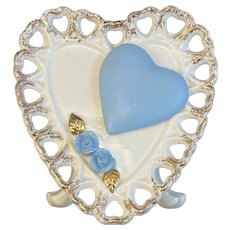 1959 Relpo Samson Import Co 445-S Valentine Heart Planter Blue Roses Reticulated Gold Trim
