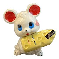 Mouse Holding Swiss Cheese Salt and Pepper Shakers South Carolina Souvenir