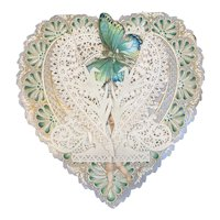Victorian Valentine Die Cut Heart Shaped 3 D Layer Card Butterfly