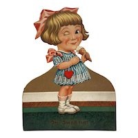 German Mechanical Valentine Winking Girl Holding Ice Cream Cone Germany Oh Sweetie!