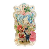 Victorian Die Cut Mechanical Valentine with Children Birds Flowers Shamrock German Inscription