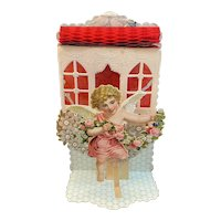 Victorian German Die Cut Mechanical Valentine with Cupid Doves Cellophane Windows Flowers Honeycomb Germany