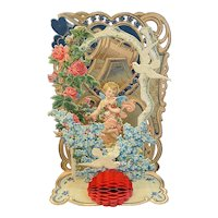 Large Victorian German Die Cut Mechanical Valentine with Cupid Doves Flowers Honeycomb Germany
