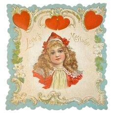 Embossed Die Cut Valentine Girl in Red Edwardian Era