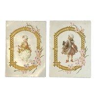 Pair Embossed Die Cut Colonial Couple Valentine Cards Pink Flowers Poems