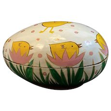 Lacquered Paper Mache Egg Box with Chicks in Nests Motif Papier Lacquer Lacquered Vintage Easter