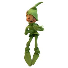 1989 Annalee Mobilitee Doll Lime Green Elf with Ear Poking Out of Hat Leprechaun St. Patrick's Day Vintage