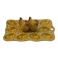 Rooster Salt and Pepper Shakers on Deviled Egg Dish Set Vintage Japan Easter Thanksgiving Fall Tableware Tray Platter