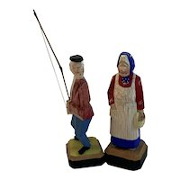 Original Hand Carved and Painted Man and Woman Fisherman