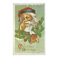 Samson Brothers Santa With a Finger Aside of His Nose Embossed Postcard Christmas Greetings #2