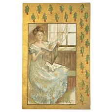 1914 HB Griggs German New Year's Postcard Embossed Woman with Book Artist Signed HBG L & E Publisher