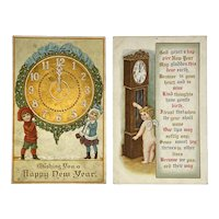 c 1911 2 New Year's Postcards Children Cherub with Clocks Embossed