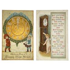 c 1911 2 New Year's Postcards Children Cherub with Clocks Embossed