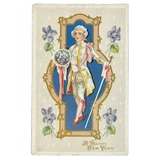 1912 J Herman New Year Postcard Unused 650 Gold Medal Trademark