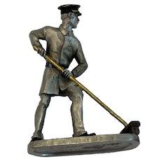 1991 Hudson Pewter Miniature Street Sweeper Man Village Villager Figurine 5633