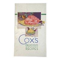1933 Gox's Gelatine Delicious Recipes Cookbook Cook Book Advertising