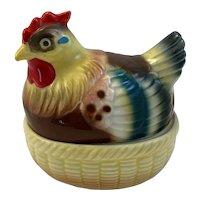 Vintage Rooster on Nest Egg Salt and Pepper Shaker Set Inside the Chicken Japan Mid Century Ceramics Easter Decoration Hen Chicken