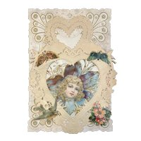 Victorian Valentine Die Cut 3 Layer Card Butterfly Butterflies Birds Little Girl Head in Flower Heart Shaped Paper Lace Doily Doilies