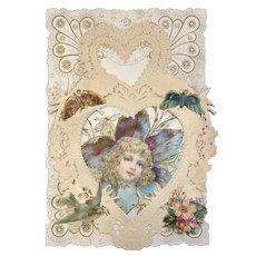 Victorian Valentine Die Cut 3 Layer Card Butterfly Butterflies Birds Little Girl Head in Flower Heart Shaped Paper Lace Doily Doilies