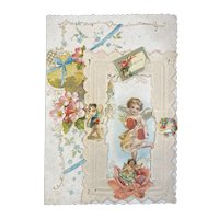 Victorian Valentine Die Cut 3 Layer Card Cupids and Flowers Paper Lace Doily