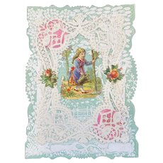 Victorian Valentine Die Cut 3 Layer Card Girl and Flowers Paper Lace Doily