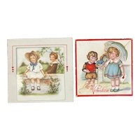 2 German Valentines Cute Children Ship Die Cut Pop Outs