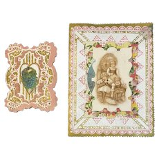 2 Victorian Valentine Die Cut Layered Cards Girls and Flowers Pink and Gold Heavily Embossed 3D 3 Dimensional