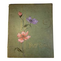 Antique Postcard Album with Embossed Cover Pansies Pansy Victorian