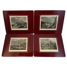 Set of 8 English Fox Hunt Trivets by Lady Clare England Horses Dogs Equestrian Engraving Illustrations Placemats Place Mats