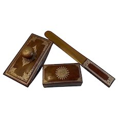 Italian Leather Desk Accessories Set Stamp Box Letter Opener Blotter Gold and Brown Embossed Gilt