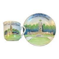 Gettysburg PA Historical Cup and Saucer Set Eternal Light Peace Monument Civil War Hand Painted Porcelain Miniature Demitasse