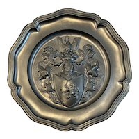 Vintage Pewter Plate Coat of Arms Insignia European Heavy Relief Embossing