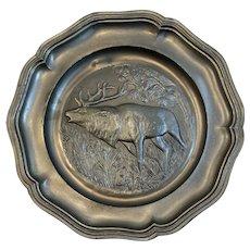 Vintage Pewter Plate Elk in Forest Scene European Heavy Relief Embossing