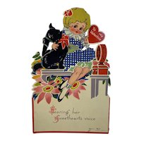 German Mechanical Scottie Dog and Girl Valentine Germany