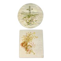 2 Raphael Tuck & Sons Easter Cards Religious Victorian Era Cross and Flowers
