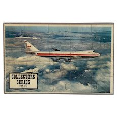 TWA 747 Puzzle Postcard Mail-A-Puzzle Sealed in Plastic with Tray Unused Common Tatar Collector Series Airplane Plane