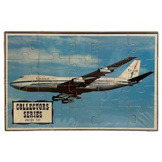 United 747 Puzzle Postcard Mail-A-Puzzle Sealed in Plastic with Tray Unused Common Tatar Collector Series Airplane Plane