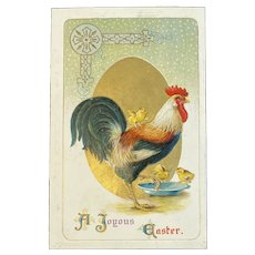 German Easter Postcard Rooster and Chicks Embossed Germany Series 2413