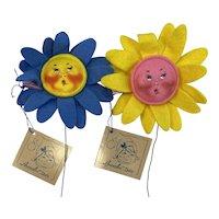 1992 1993 Annalee Sunflowers Blue 1831 Yellow 1835 Original Hang Tags Metal Picks Easter Spring Flowers Floral