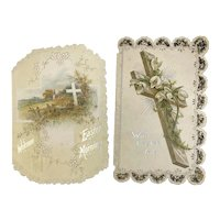 Victorian Die Cut Easter Cross Cards Charlotte Murray Poems Lily Lilies Embossed