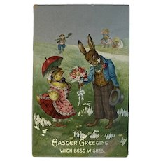 German Easter Postcard Dressed Chick and Bunny Rabbit Germany Embossed