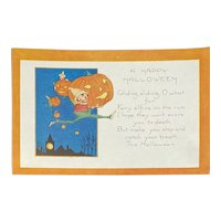 Unused Whitney Halloween Postcard Fairy Elfins Elf Elves JOL Jackolantern Jack O Lantern