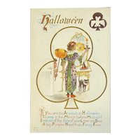 Nash Halloween Postcard Lady Mirror Candle Black Cat JOL Bat Clover Embossed Jackolantern Jack O Lantern