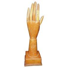 Circa 1900 Country Store Display Wear Right Gloves Articulated Display Hand