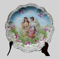 Early 20th Century Vintage PM Bavaria Hand Painted Maidens Cabinet Plate
