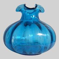 Vintage heavy paneled ribbed blown glass brilliant ocean blue vase